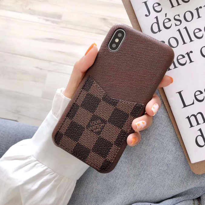 LV Style Checkered Leather Cardholder iPhone Case For iPhone X XS XS Max XR 7 8 Plus