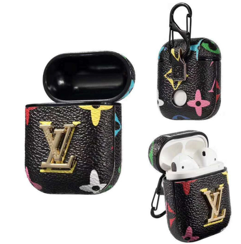 LV Colored Monogram Style Leather ShockProof Case for Apple Airpods 1 & 2