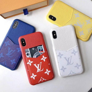 LV Monogram Style Color Leather Cardholder Designer iPhone Case For iPhone X XS XS Max XR 7 8 Plus