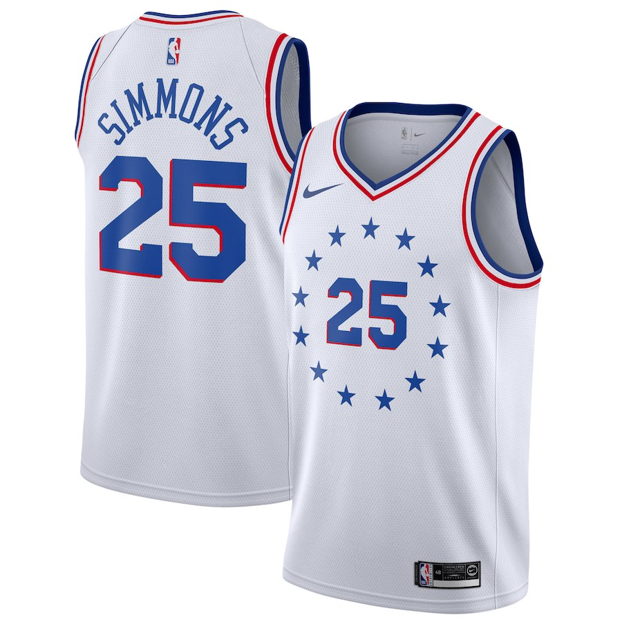 reputable site 59708 1a2a8 76ers Ben Simmons White NBA Swingman Earned Edition 2018-19 Jersey