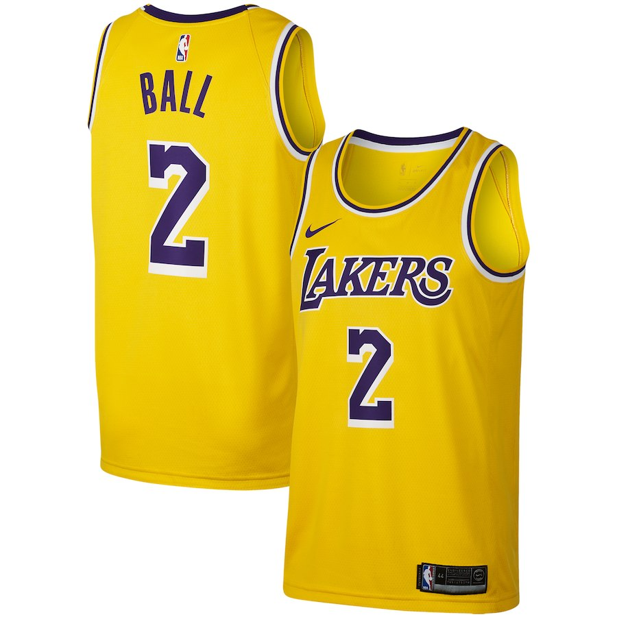 hot sale online 01760 5bd6f Los Angeles Lakers Lonzo Ball Gold Replica Swingman Jersey – Icon Edition
