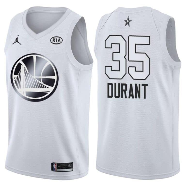 save off e3e04 3caa7 Golden State Warriors Kevin Durant All-Star 2018 White Jersey