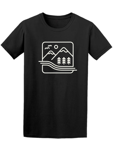Mountains Linear Icon Graphic Men's Tee - Image by Shutterstock