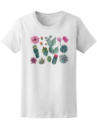 Watercolor Cactus Flowers Tee Women's -Image by Shutterstock