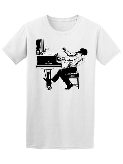 Jazz Pianist In Black & White Tee Men's -Image by Shutterstock