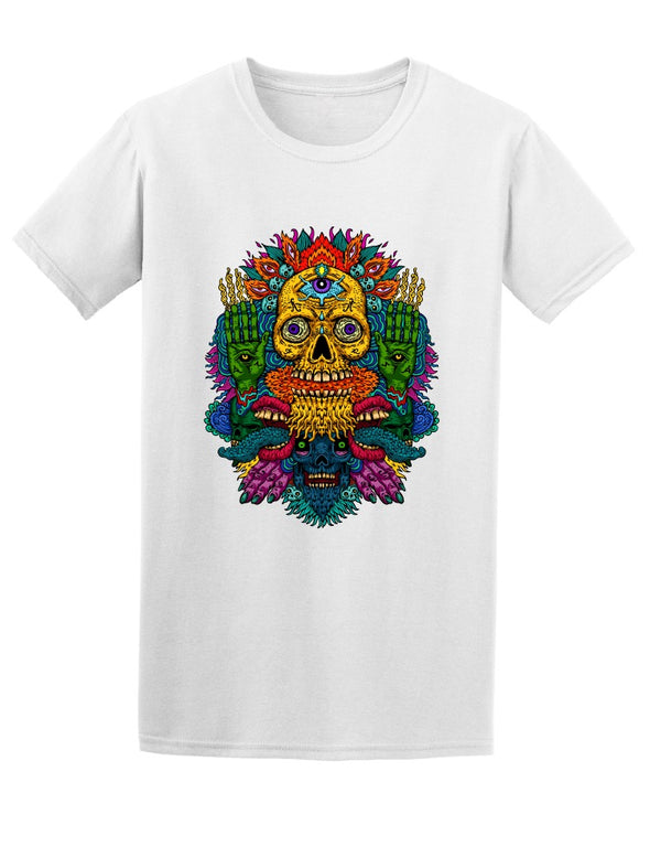 Psychedelic Bright Color Skull Tee Men's -Image by Shutterstock