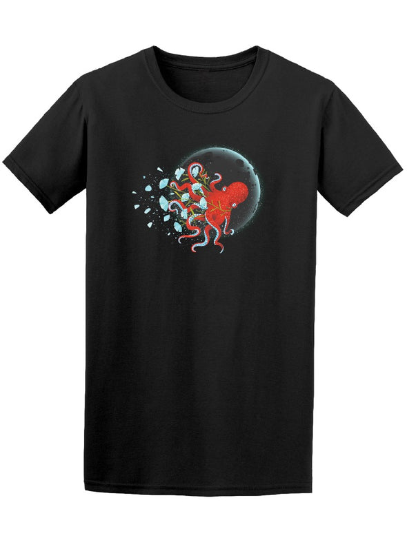 Octopus Moon And Flowers Graphic Tee Men's -Image by Shutterstock