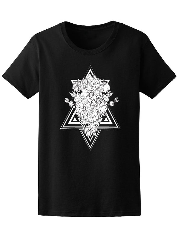 Geometrical Frames Flower Sketch Tee Women's -Image by Shutterstock