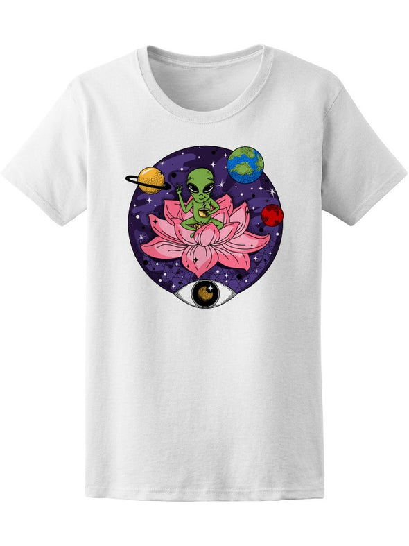 Space Alien In Lotus Flower Tee Women's -Image by Shutterstock