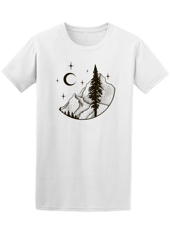 Mountains And Moon Dot Art Tee Men's -Image by Shutterstock