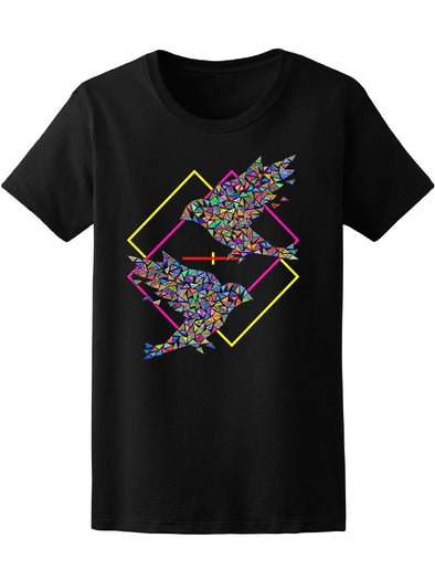 Colorful Abstract Birds In Retro Style Tee Women's -Image by Shutterstock