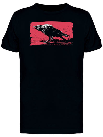 Black Raven In Grunge Art Tee Men's -Image by Shutterstock