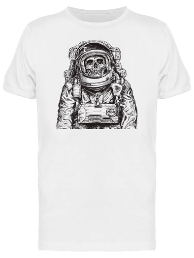 Hand Drawn Astronaut Skull Art Tee Men's -Image by Shutterstock