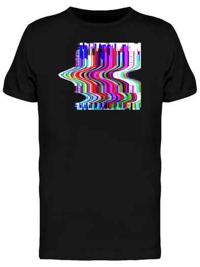 Graphic Glitched Wavy Stripes Tee Men's -Image by Shutterstock