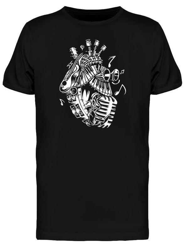 Retro Music Heart Graphic Tee Men's -Image by Shutterstock