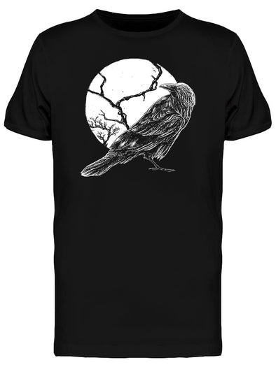 Horror Graphic Raven And Moon Tee Men's -Image by Shutterstock