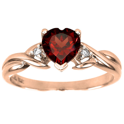 10K Rose Gold Heart Garnet Diamond Ring