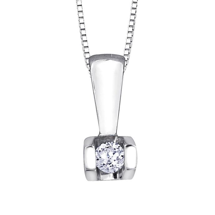 Solitaire Diamond Bar Pendant in 10K White Gold (0.04 ct wt)