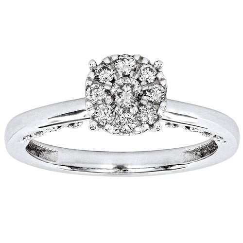 10K White Gold Diamond Promise Ring (0.27ct tw)