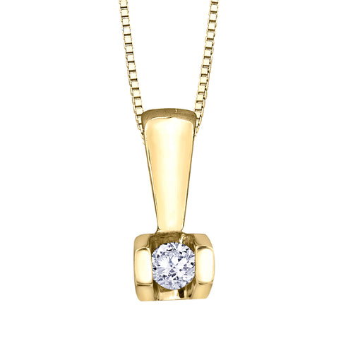 Solitaire Diamond Bar Pendant in 10K Yellow Gold (0.04 ct wt)