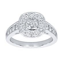Load image into Gallery viewer, Cushion Cut Diamond Halo Engagement Ring in 18K Palladium White Gold (1.70ct tw)