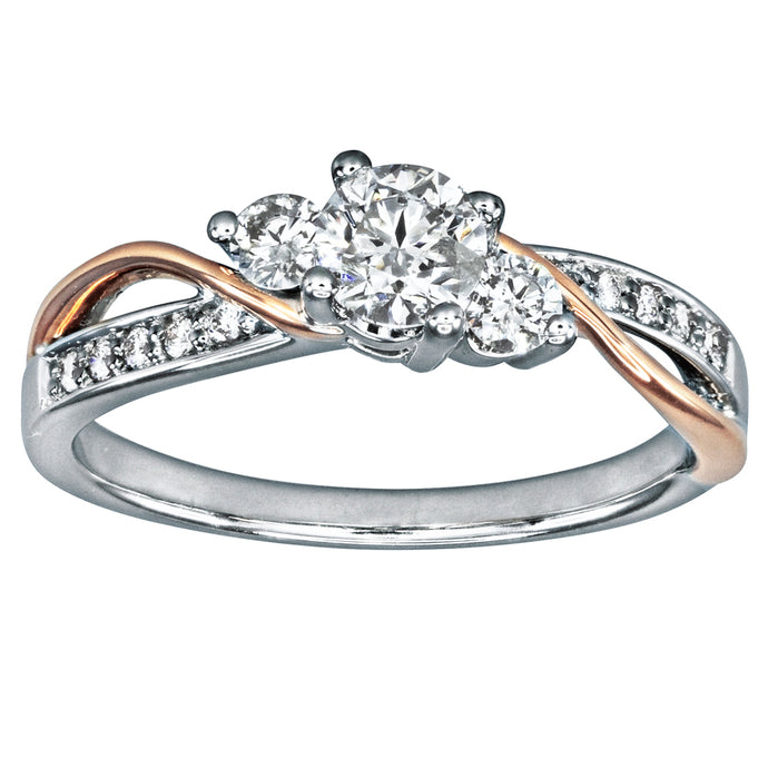 Diamond Engagement Ring in 14K White and Rose Gold (0.62ct tw)