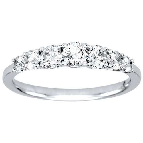 Tapered Diamond Anniversary Ring in 14K White Gold (0.78ct tw)
