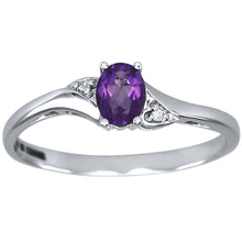 Load image into Gallery viewer, Oval Amethyst Diamond Ring in 10K White Gold