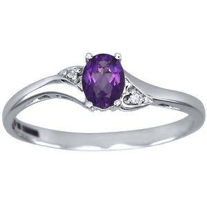 Oval Amethyst Diamond Ring in 10K White Gold