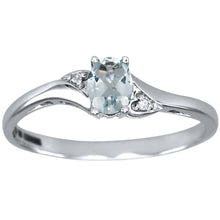 Load image into Gallery viewer, Oval Aquamarine Diamond Ring in 10K White Gold