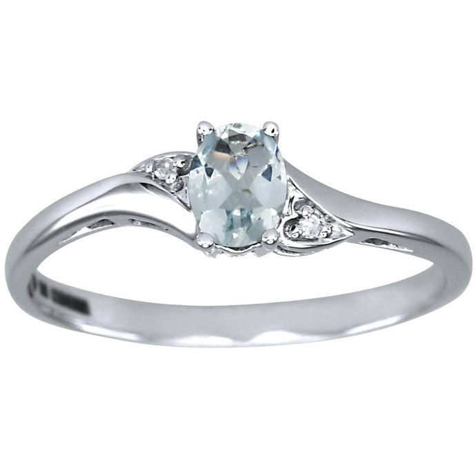 Oval Aquamarine Diamond Ring in 10K White Gold