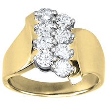 Load image into Gallery viewer, Double Row Diamond Ribbon Ring in 14K Yellow and White Gold (1.00ct tw)
