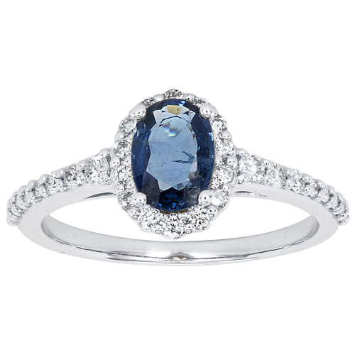 Oval Sapphire and Diamond Halo Ring in 14K White Gold (7x5mm)