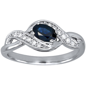 Oval Sapphire and Diamond Ring in 10K White Gold