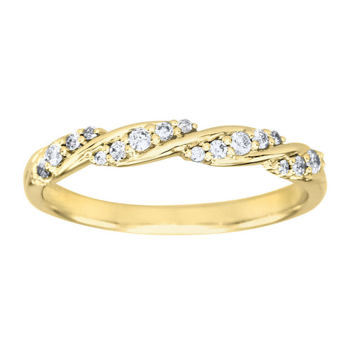 Diamond Twist Ring in 14K Yellow Gold (0.15ct tw)