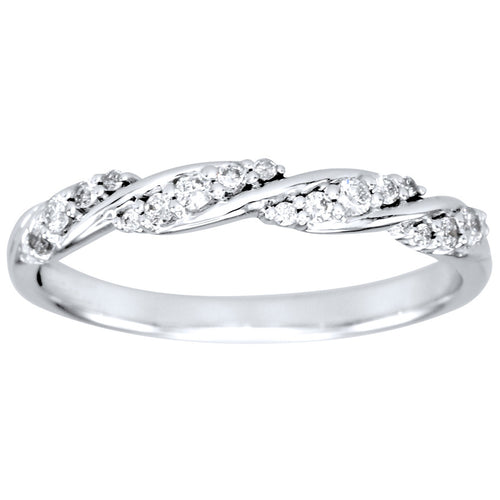 Diamond Twist Ring in 14K White Gold (0.15ct tw)