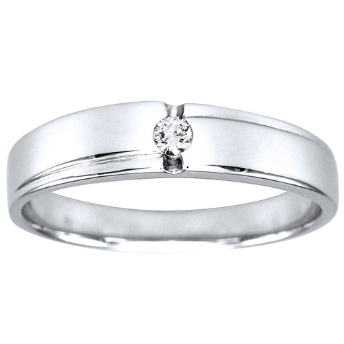 Mens Solitaire Diamond Wedding Band in 10K White Gold (0.06ct tw)