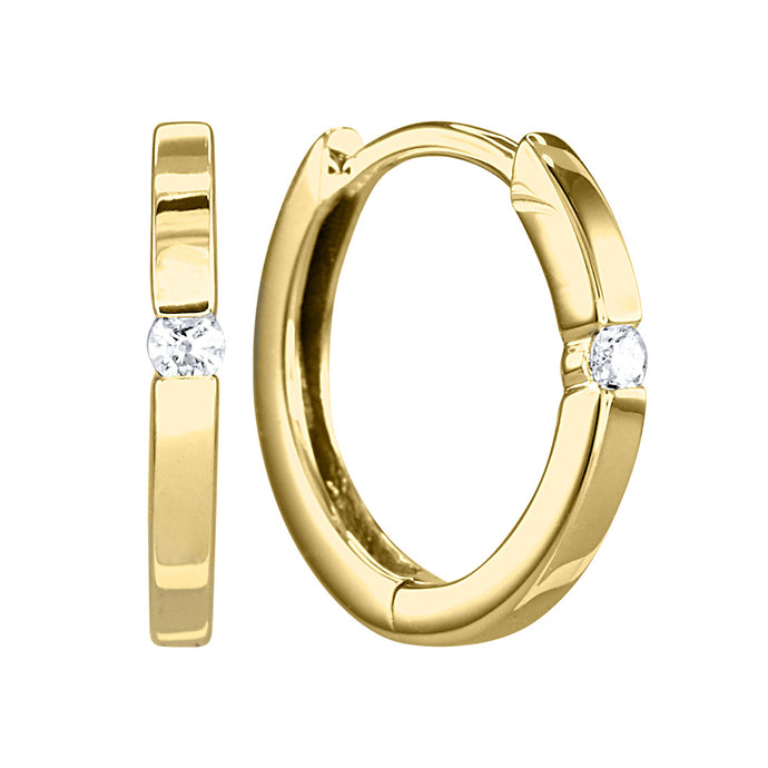 Tension-Set Diamond Huggie Hoop Earrings in 10K Yellow Gold (0.04ct tw)