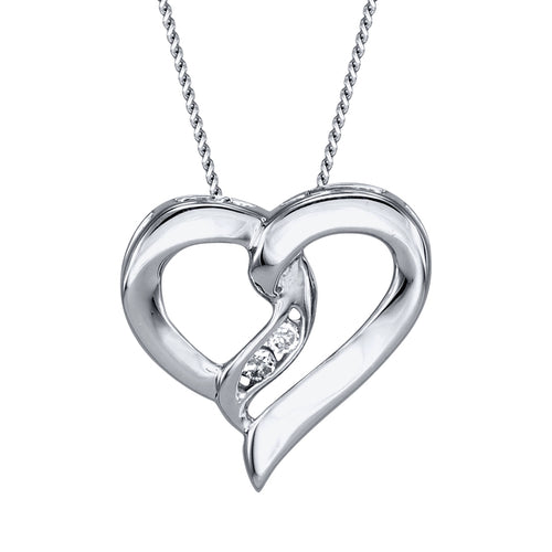 Diamond Heart Ribbon Necklace in 10K White Gold (0.015ct tw)
