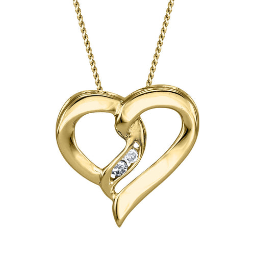 Diamond Heart Ribbon Necklace in 10K Yellow Gold (0.015ct tw)
