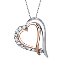 Load image into Gallery viewer, Two-Tone Double Heart Diamond Necklace in 10K White and Rose Gold (0.075ct tw)