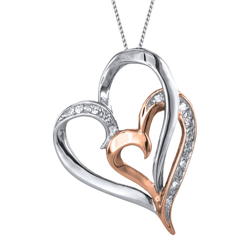 Floating Double Heart Diamond Necklace in 10K White and Rose Gold (0.03ct tw)