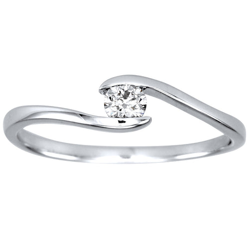 Solitaire Diamond Ring 10K White Gold