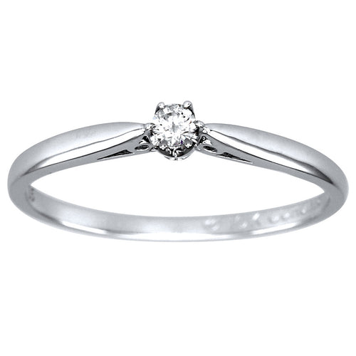 Six-Claw Diamond Solitaire Promise Ring in 10K White Gold (0.05ct tw)
