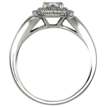 Load image into Gallery viewer, Canadian Diamond Halo Engagement Ring in 14K White Gold (0.96ct tw)