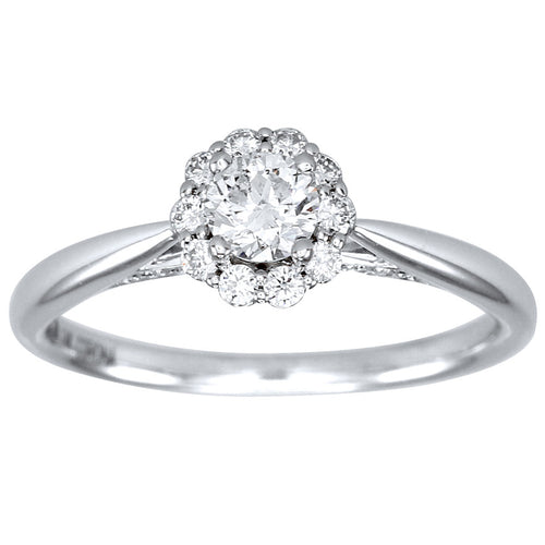 Canadian Diamond Cathedral Engagement Ring in 14K White Gold (0.51ct tw)