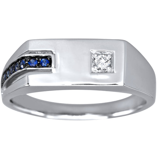 Gents Off-Set Sapphire and Diamond Ring in 10K White Gold
