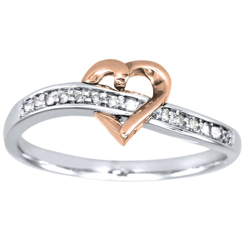 Heart Diamond Promise Ring in 10K White and Rose Gold (0.075ct tw)