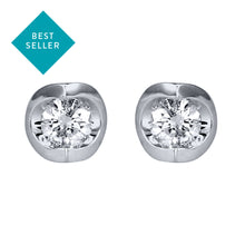 Load image into Gallery viewer, Tension Set Solitaire Canadian Diamond Stud Earrings in 14K White Gold (0.15ct tw)