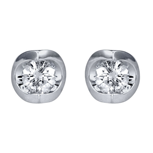 Tension Set Solitaire Canadian Diamond Stud Earrings in 14K White Gold (0.15ct tw)